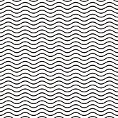 pic of wavy  - Black seamless wavy line pattern vector illustration - JPG