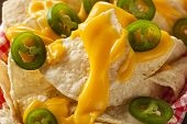 image of jalapeno  - Homemade Nachos with Cheddar Cheese and Jalapenos - JPG