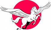 stock photo of pegasus  - Illustration of a Pegasus flying horse set inside circle on isolated background done in cartoon style - JPG