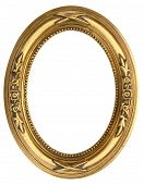 stock photo of oval  - Gold Oval Picture Frame isolated on white - JPG