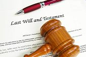image of deceased  - Last Will and Testament document with gavel and pen - JPG
