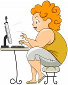foto of fat woman  - Plump Woman on Computer with Clipping Path - JPG