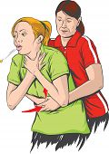 picture of choke  - Vector illustration of Heimlich maneuver performing  - JPG