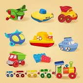 stock photo of dump  - Set of toys with airplane - JPG