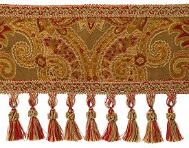 picture of tassels  - Red and Gold Tassels with Trim on Fabric isolated on white - JPG