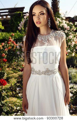 Beautiful Tender Bride With Dark Hair In Elegant Wedding Dress