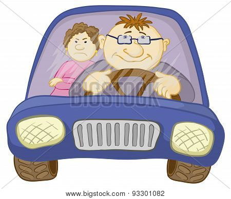 Car, driver and passenger