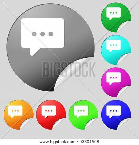 Cloud Of Thoughts Icon Sign. Set Of Eight Multi Colored Round Buttons, Stickers. Vector