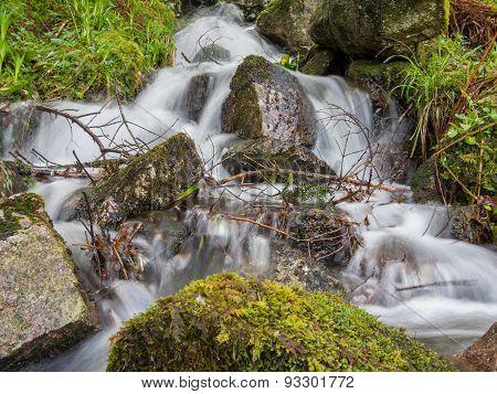 Horizontal Shot Of A Messy Waterfall