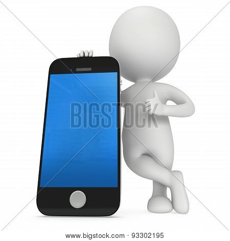 3D White Man With Smartphone.