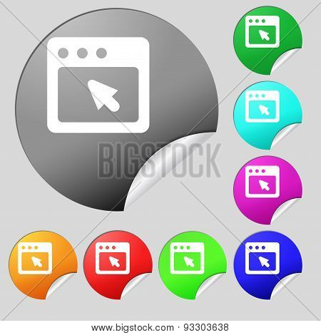 The Dialog Box Icon Sign. Set Of Eight Multi Colored Round Buttons, Stickers. Vector