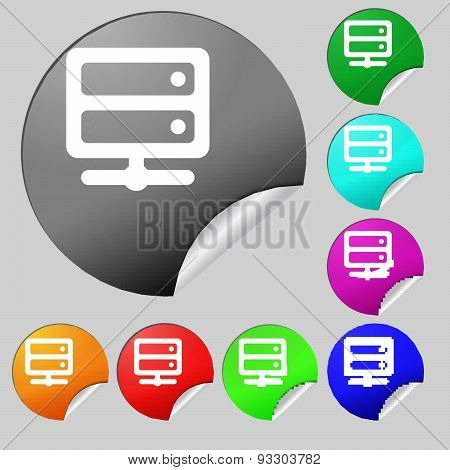 Server Icon Sign. Set Of Eight Multi Colored Round Buttons, Stickers. Vector
