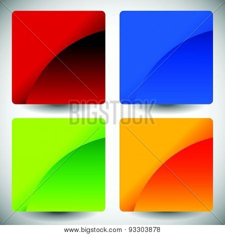 Blank Glossy Square Buttons With Rounded Corners, Vector. Set Of 4 Colors. Squares Consist Of 2 Piec