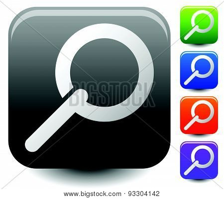 Square Magnifying Glass / Magnifier Icons. 5 Colors.