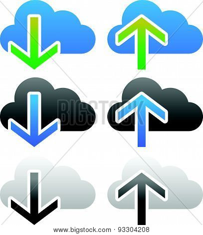 Clouds With Arrows. Upload, Download Icons. Upload, Download From The Cloud.