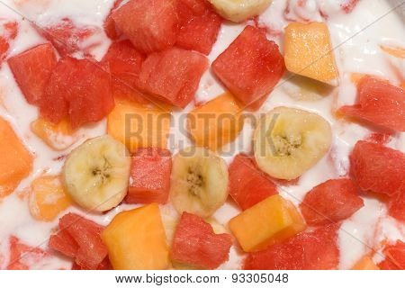 Fresh Fruit Salad With Milk