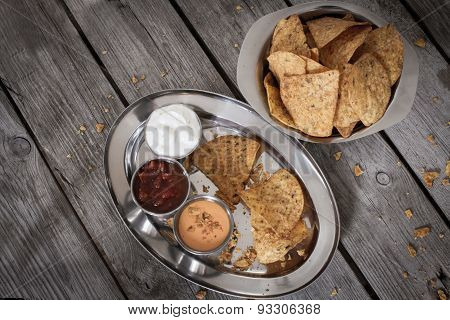 Nachos With Tomato Salsa And Sour Cream
