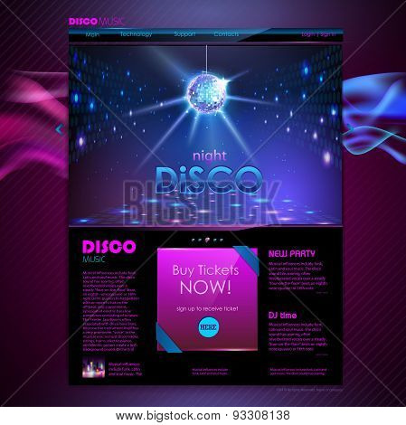 Website Template Design. Disco Background