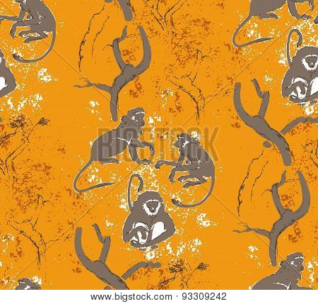 Abstract Grungy Seamless Pattern. Trees And Monkeys. Exotic Forest Motif Background
