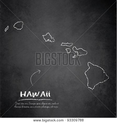 Hawaii map blackboard chalkboard vector