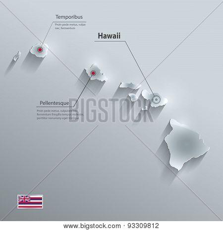 Hawaii map flag glass card paper 3D vector