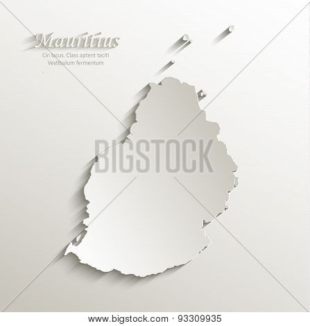 Mauritius map card paper 3D natural vector