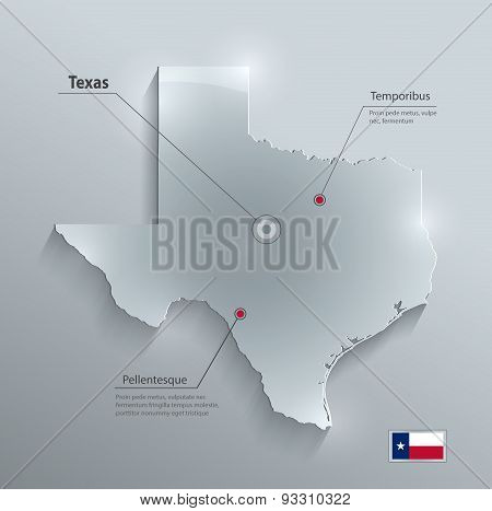 Texas map flag glass card paper 3D vector