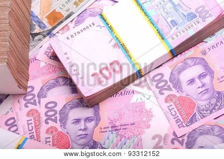 Pile Of Ukrainian Money Grivna