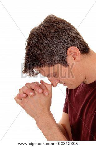 Praying Young Man In Profile