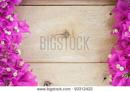 Bougainvillea Flower Space Blank On Wood Background