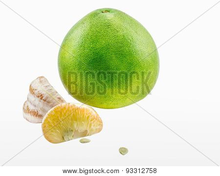 The Pomelo Fruit On White Isolate Background.