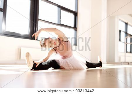 Ballerina In Stretching Workout Smiling At Camera