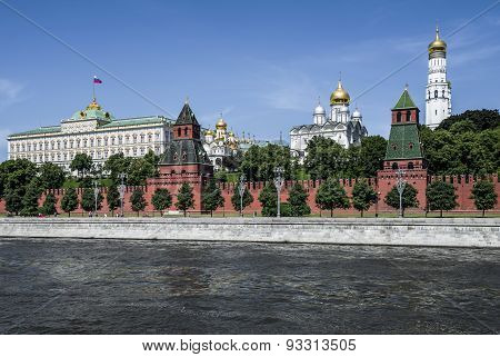 Moskva River Embankment. Kremlin.