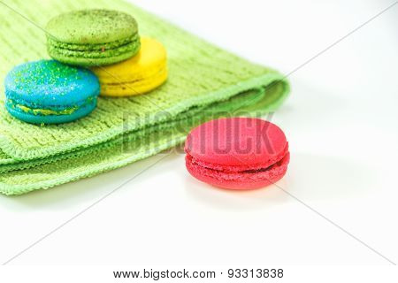 The Macaron On White Backgroun.