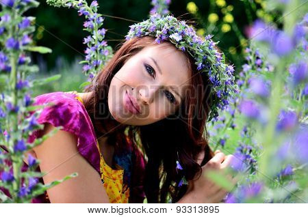 Girl With Flowers' Wreath