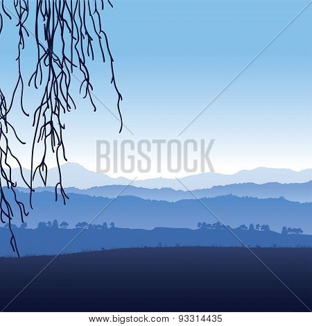 Landscape of mountains in fog