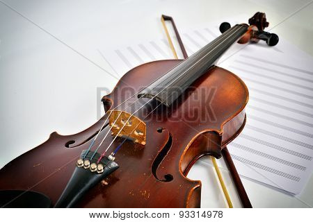 Old Violin On Notes