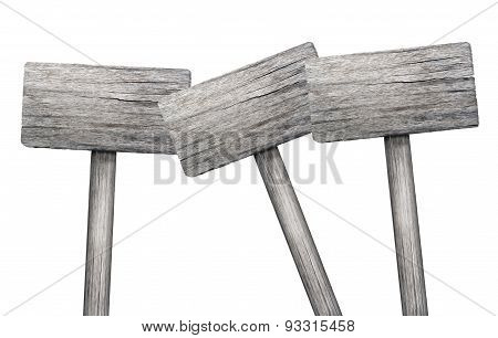 3 Wooden Signs On White Background