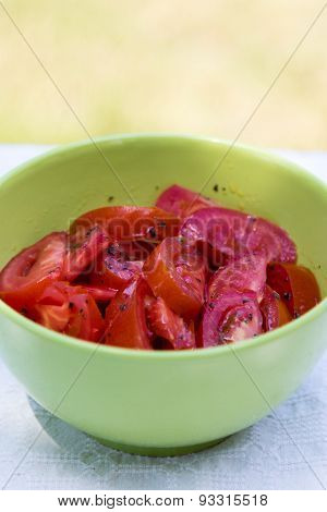 Tomato Salad In Green Bowl