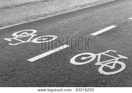 Bicycle Road Sign Double Lane