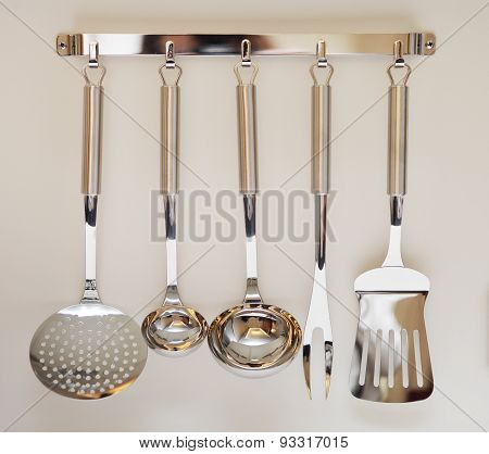 Set Of Black Modern Kitchen Utensil Hanging