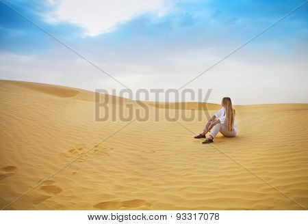 Beauty Blond Woman In Desert. Sahara Desert