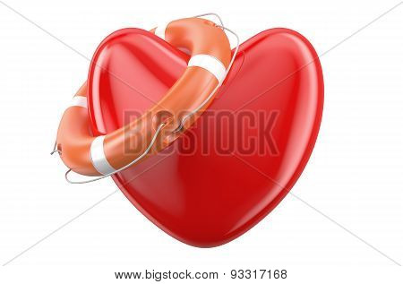 Red Heart With Lifebuoy