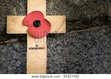 Memorial cross and poppy