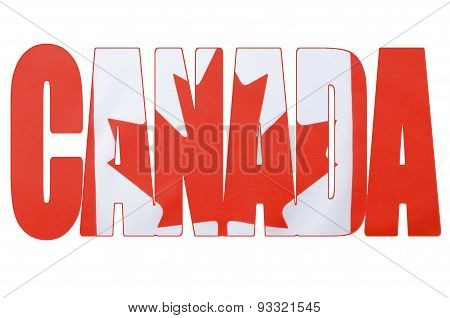 Canadian Flag In Outline Of Word, Canada.