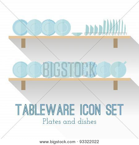 Flat Set Of Different Icons Plates