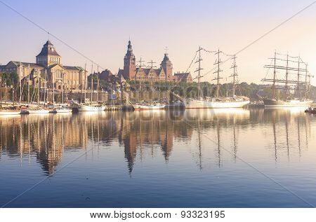 Sailing Ships By Chrobry Embankment In Szczecin At Sunrise.