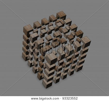 Abstract Cube Logo Vector Outline On A Grey Background