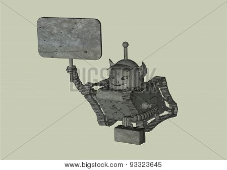 Robot On Tracks With A Sign And A Box, Multicolored Pattern On A Grey Background