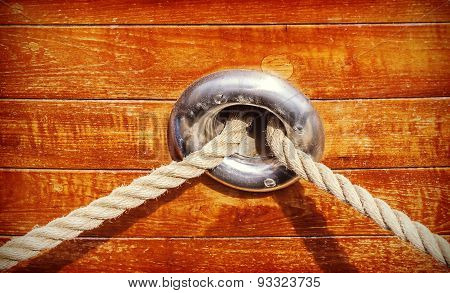 Vintage Toned Wooden Yacht Background.